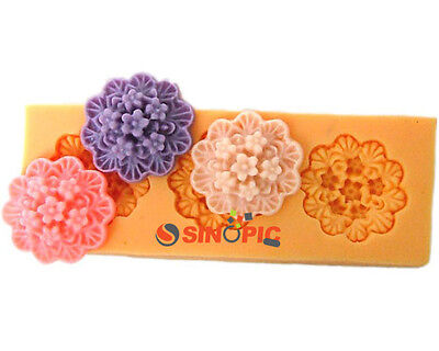 1X 3D Large Flower Containing Six Little Cute Flower Silicong Cake Pastry Mould
