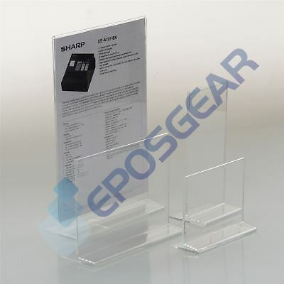 10 A4 Landscape Two Sided Acrylic Perspex Menu Sign Display Holder Counter Stand