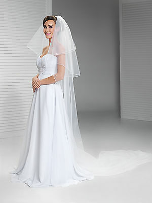 """New 2T White/Ivory Wedding Bridal Cathedral Veil Length 120""""- Pencil Edge & Comb"""