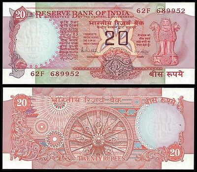 India 20 RUPEES Letter B Sign. 85 P 82h UNC