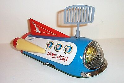 MINT 1950's BATTERY OPERATED ATOMIC ROCKET X-1800 SPACE SHIP TIN LITHO TOY JAPAN