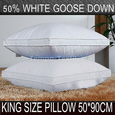 1/2 Pack 50% White Goose Down 50% Feather KING Size Pillow 50*90cm Cotton Cover