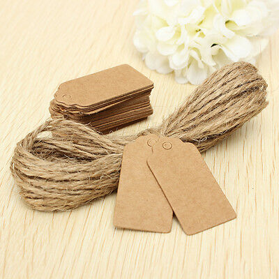 100x Gift Brown Kraft Paper Tags Scallop Label Hand Luggage Wedding Note +Twines