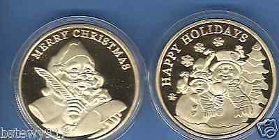 MERRY CHRISTMAS~HAPPY HOLIDAYS 24KT GOLD COIN~SANTA~MERRY CHRISTMAS~NEW