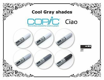 COPIC CIAO MARKER - SINGLES - Cool Gray Shades And Black
