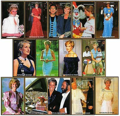 DIANA Princess of Wales Stamp Minisheet Collection (14 Different Mint Sheets)
