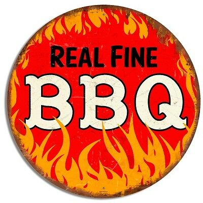 Real Fine BBQ Round Metal Sign 28 in.