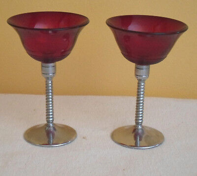 Ruby Red Goblets, twist off silver  spiral  chrome stems, art deco, x2