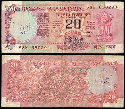 India 20 RUPEES Sign. 83 Letter A ND P 82f Circ.