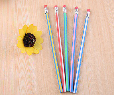 5PCS Colorful Magic Flexible Bendy Soft Pencil with Eraser For Kids Student New
