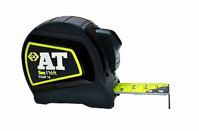 CK AT Auto Lock Stop Tape Measure 5m 16ft Metric Imperial Scales Nylon Blade T34