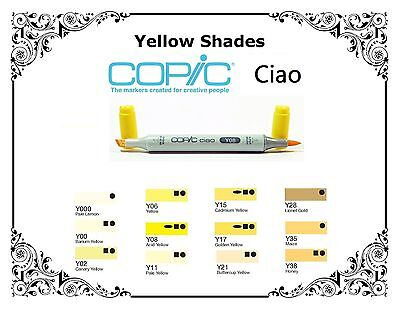 Copic Ciao Markers - Yellow Shades - Refillable With Copic Various Inks