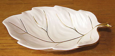 "Carlton Ware England White Satin With Gold Trim 8 1/2"" Leaf Bowl Serving Dish EX"