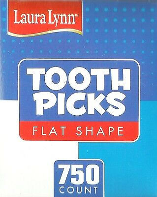 """Laura Lynn TOOTHPICKS MADE in USA Flat Wood No Additives Birch wooden 750ct 2.5"""""""