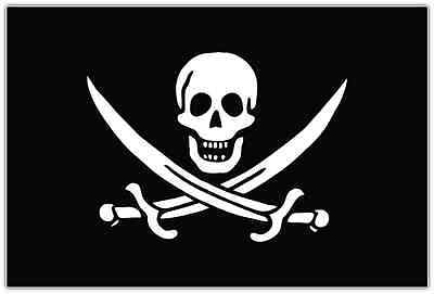 "Jolly Roger Pirate Flag Car Bumper Window Tool Box Sticker Decal 5""X3.5"""