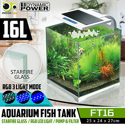 Aquarium Fish Tank Nano STARFIRE 3 Mode LED Light Complete Set Filter Pump 16L