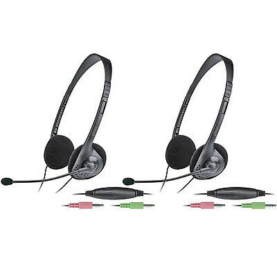 2 X New Jwin Stereo & Pc Headset Headphone Earphone With In-Line Volume Control