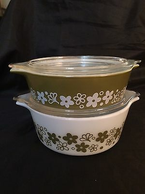 PYREX~Spring Blossom/Crazy Daisy~4pc Casserole Set+Covers/Lids Table-Oven-Store