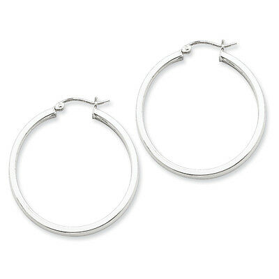 925 Sterling Silver Rhodium-plated Polished Square-tube Hoop Earrings 3.25mm x 20mm