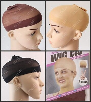 NEW  2PCS WIG CAP black or nude breathable stretchable stocking cap in one size