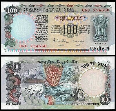 India 100 RUPEES sign 85 ND P 85A UNC