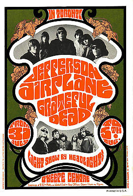 Jefferson Airplane / Grateful Dead 1967 Toronto Concert Poster - 6.75x10 Photo