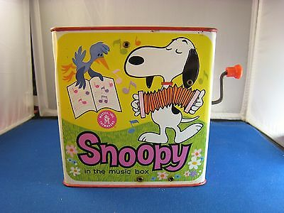 Snoopy Early Mattell Snoopy in the Music Box Pop Up Tin Toy
