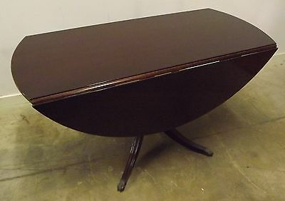 ANTIQUE STYLE REPRODUCTION MAHOGANY? DROP-LEAF PEDESTAL DINING TABLE NEEDS TLC