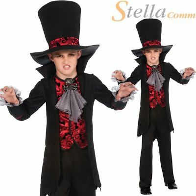 Boys Vampire Lord Dracula Costume Halloween Fancy Dress Kids Child Outfit