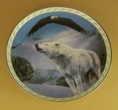 Masters of the Land and Sky MAJESTIC HARMONY Plate Wolf Wolves Eagle #2 Mountain