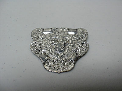 Fabulous Antique Art Nouveau Period Chased Sterling Silver Brooch