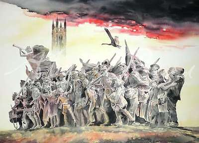 "ORIGINAL ALAN REED WATERCOLOUR ""The Response"" World War One WWI PAINTING"
