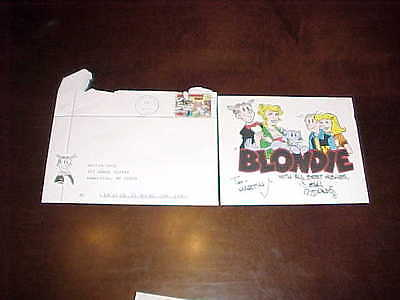 Dean Young Autographed Signed Blondie Cartoon Card with Blondie Envelope Stamp
