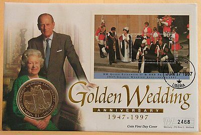 First Day Coin Cover -Golden Wedding Anniversary HM The Queen 1997 $1 Liberia