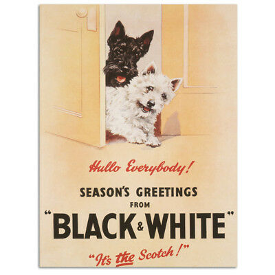 Black and White Scotch Holiday Dogs Metal Sign Vintage Style Bar Decor 12 x 16