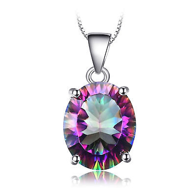 JewelryPalace 3.5ct OVAL Genuine Fire Rainbow Coated Quartz Pendant 925 Silver