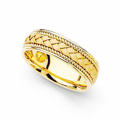 14k Yellow Gold Ladies 6-mm Hand-braided Comfort-fit Wedding Band