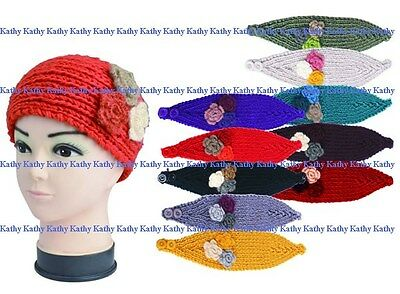 Wholesale LOT 12 PCS HEADWEAR Flower Hand Knit Crochet Headwrap Headband Colors