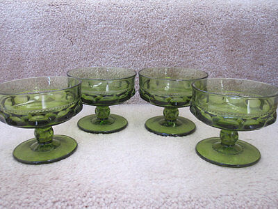 Vintage Kings Crown Indiana Glass Footed Thumbprint 4 Sherbet Glasses Green EUC