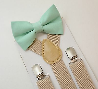 Kids Boys Baby SET Tan Suspenders & Pastel Mint Cotton Clip on bow tie 6mon-5Y