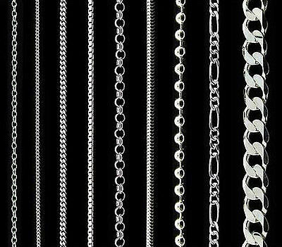 925 Sterling Silver Curb Trace Belcher Bead Box Snake Chain Necklace In Gift Box