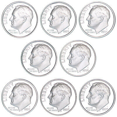 1992-1999 S Roosevelt Dimes 90% Silver Gem Deep Cameo Proof Run 8 Coin Set