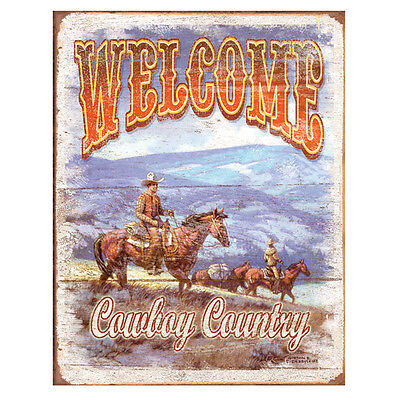 Welcome Cowboy Country Western Plain Tin Sign Country Farm Decor 12.5 x 16