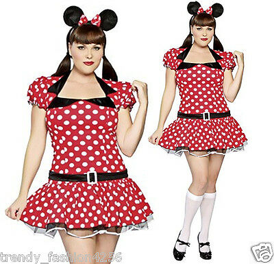 Womens Plus Size Disney Minnie Mouse Costume Fancy Dress Ladies Outfit Head Band