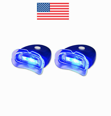2 NEW LED Blue Plasma Hands-free Teeth Whitening Accelerator Light w/ Batteries