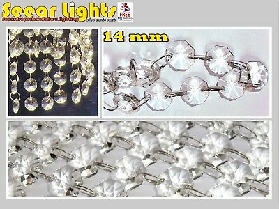 CHANDELIER LIGHT CRYSTALS DROPLETS 2.6ft / 0.8m GLASS BEADS WEDDING DROPS 14MM