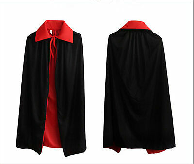 New Long Cloak Black/Red Medieval Wicca Robe Medieval Witchcraft Larp Cape
