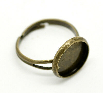 80 Bronze Tone Adjustable Round Cabochon Ring Settings 16.7mm US 6.25(Fit 12mm)