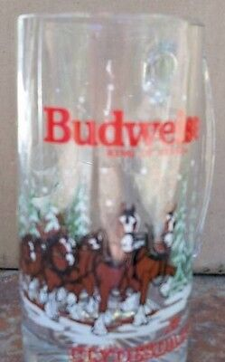 Bud King of BEER MUG GLASS 1992 CLYDESDALES Budweiser Never Used Mint