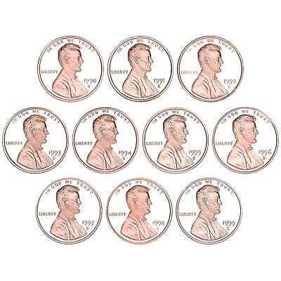 1990-1999 S Lincoln Memorial Cent Gem Deep Cameo Proof Run 10 Coin Set US Mint